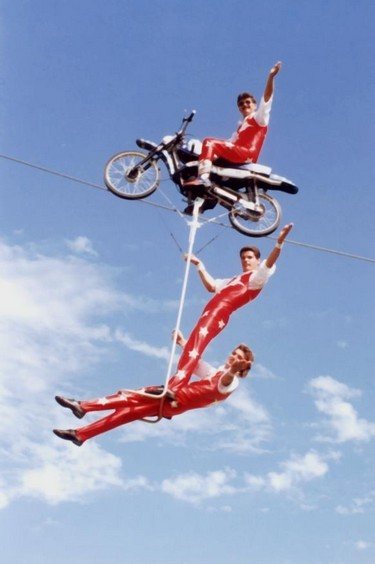 Aerial motorcycle stunt display team.
