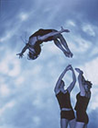 Somersaults, flight, with vaults, balances and human pyramids