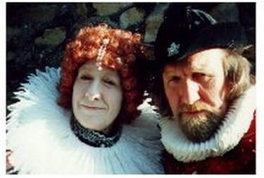 Bad tempered Queen Elizabeth I reluctantly accompanied by Sir Francis Drake