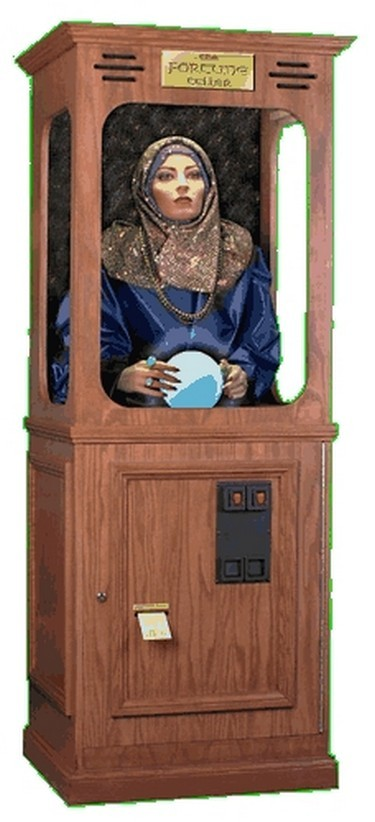 Listen to the fortune teller as your fortune card is dispensed.