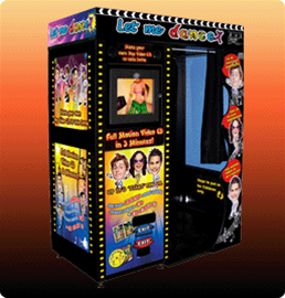 3 player arcade booth producing DVD with photos imposed on dancing characatures