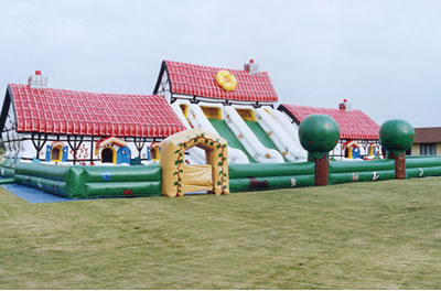 Multi Entertainment bouncy castle with slides and inflatable animals