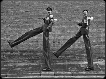 Entertaining interactive stilt walking double act
