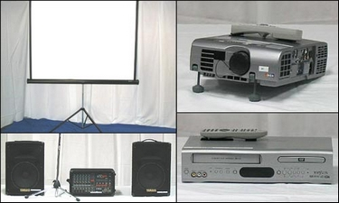 Popular cartoons on a LCD Projector and Screen